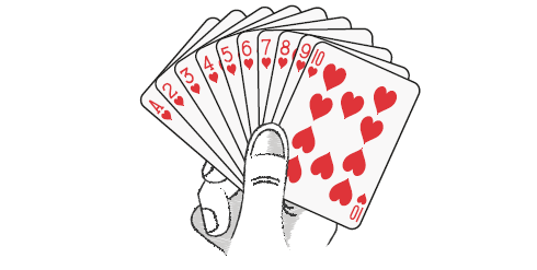 10 cards of hearts